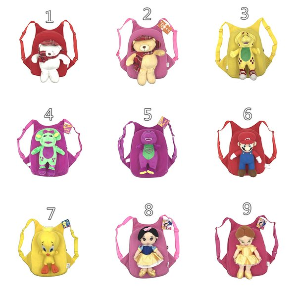 best selling Plush Animal Backpacks Baby Safety Anti-lost Backpack Cartoon Spiderman Iron Man Bag School Bags Princess Super Heroes