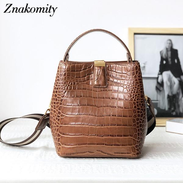 Znakomity Женщина из натуральной кожи сумки ретро Твердая Bucket плечо Сумки для дадите Большой Аллигатор Pattern Crossbody Сумка 2019 SH190920