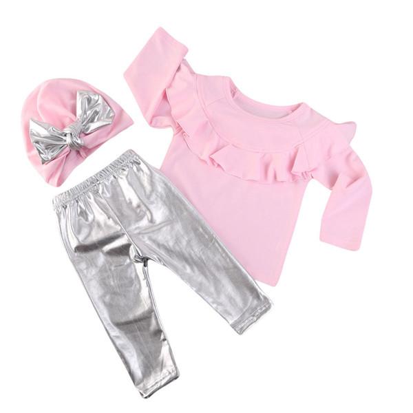 Çocuk giyim Giyim seti Prenses kız mantar dantel İlkbahar / Sonbahar Pembe T-shirt + gümüş Uzun pantolon + yay şapka üç parçalı set Moda