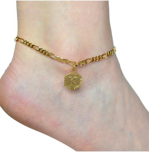 A-Z regalo lettera iniziale cavigliere per le donne in acciaio inox cavigliere 21 centimetri + 10 centimetri Extender Catenina d'oro Alfabeto del piede della gamba Gioielleria 2020