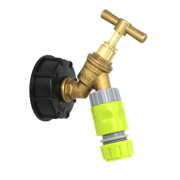"""Water Butt Fuel Storage IBC Tank Cap with Brass Tap /& 1//2/"""" Snap On Connector"""