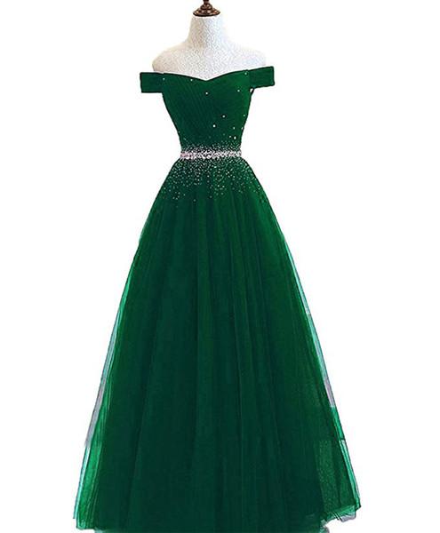 top popular Beaded Off Shoulder Evening Dresses Long Formal Dress 2019 Green Floor Length Prom Gowns vestido de noche 2019