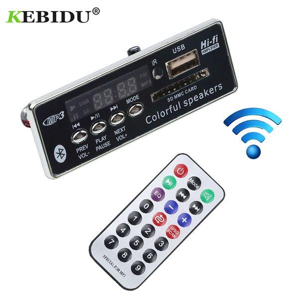 Kebidu Car USB Bluetooth MP3 Decoder Board Hands-free MP3 Player Integrated Module with Remote Control USB FM Aux Radio for Car
