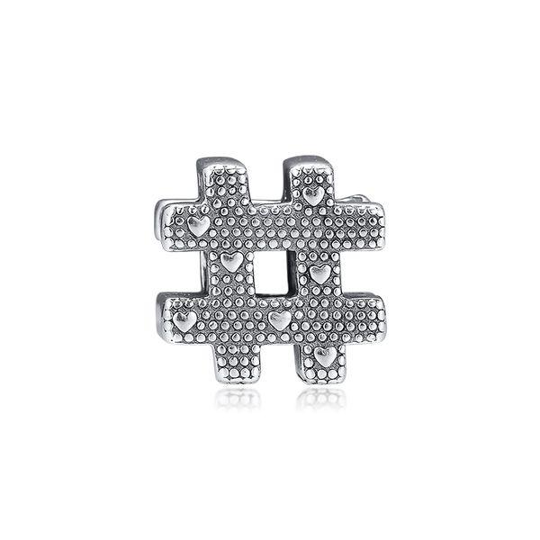 Yeni Orijinal 925 Ayar Gümüş Boncuklar Hashtag Sembol Ile Kalp Charm Fit Pandora Kadınlar Bilezik Kolye Diy Takı Aksesuarları