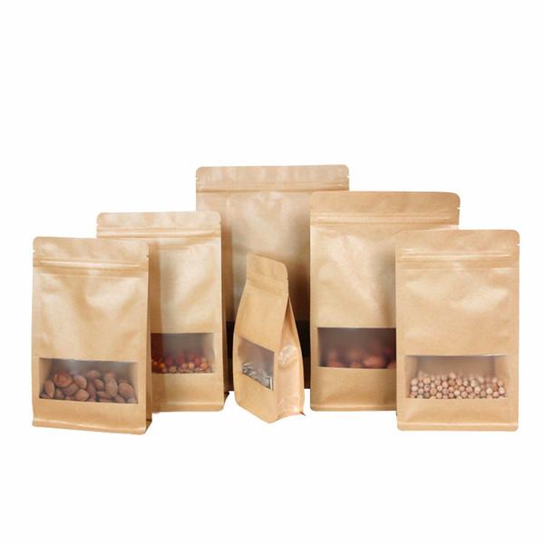 6 Сумки Размеры еды Sealable Kraft Paper влагостойкий мешки с Clear Window Standable Матовый Браун мешки Bulk еды мешка 500Pcs оптовой