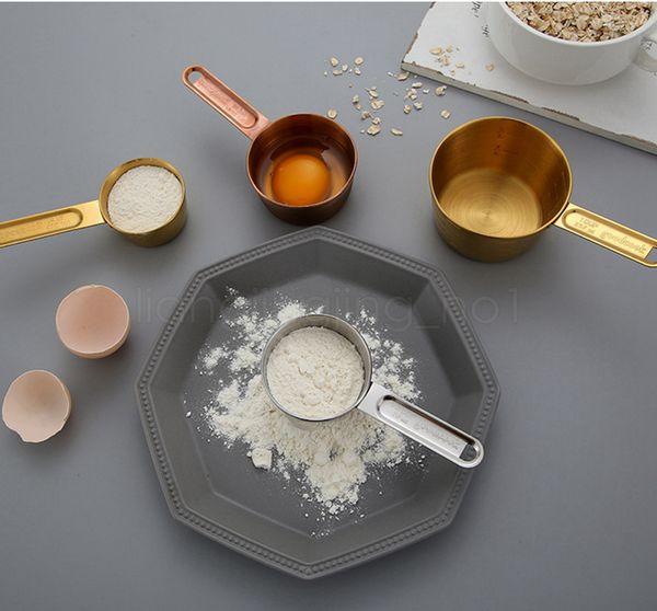 Coupes de mesure en acier inoxydable et cuillères ensemble de 8 mesures Gravé becs verseurs poli miroir pour Ustensiles pour cuisson FFA3093