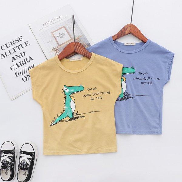 2019 Summer new boys T-shirt carta de los niños dinosaurio camiseta impresa niños cuello redondo manga corta casual top niños ropa de dibujos animados F6741