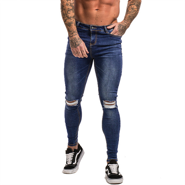 Gingtto Ripped Jeans For Men Ankle Tight Fit Super Stretch Slim Fit Blue Ripped Dropshipping Mens Skinny Jeans Big Size zm06