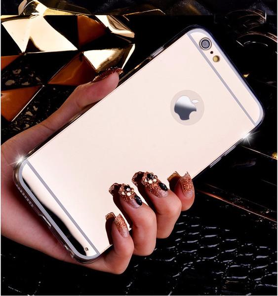 Moda Gül altın Lüks Ayna Flaş Moda Kılıf iphone 7 6 6 S Artı 5 s SE 8 X XS MAX Yumuşak Temizle TPU Kapak Fsamsung s8 s9 artı not 8 9