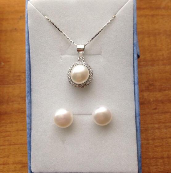 Jewelryr inci seti hakiki 7-8mm kültürlü tatlısu inci kolye ve küpe seti ücretsiz kargo