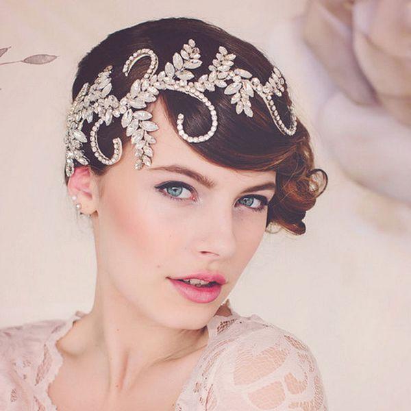 Vintage Tiara Handmade Crown Clear Crystal Bridal Hair Accessories Headband Women Wedding Hair Jewelry Headpiece Hair Vine MX190817
