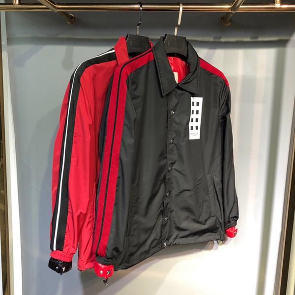 19ss Francia Diseñador Chaquetas para hombre marca de lujo Carta Rojo y negro contraste Cooperación para hombre abrigos Sección larga Chaqueta de lujo de calidad superior