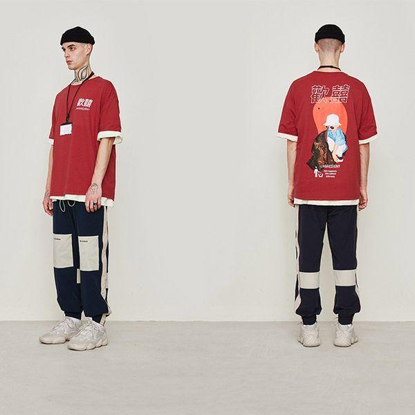 Atacado Designer Marca estilo chinês Red Hip Hop T-shirt Personagens Womens chineses Mens Imprimir manga curta T-shirt Top Quality B101647V