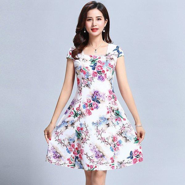 L-5xl 2018 Women's Clothes Floral Print Vintage Dress Plus Size Short Sleeve Square Neck Casual Style Dresses Vestidos De Festa MX19070401