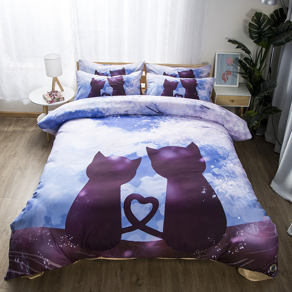Free shipping Gift Cute Cats Love Heart Print Wedding Bedding Set Duvet Cover Set pillowcase Twin full Queen King size
