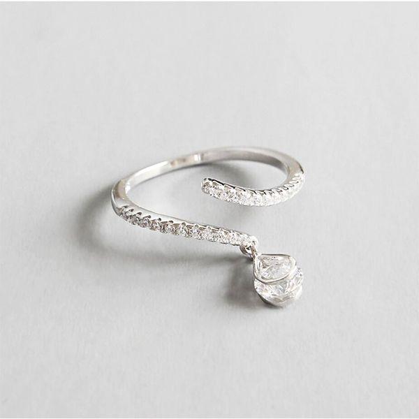 Sterling Silver 925 Adjustable Simple Big Zircon Rings Fashion