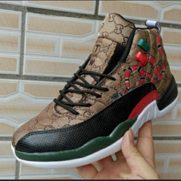 GUCCI 2020 Nouveau 12 GS Noir Snakeskin Marron Rouge Rétro Chaussures de basket-ball des hommes de 12 ans Hommes Snakeskin Multicolor Sport Designe Sneakers hococal