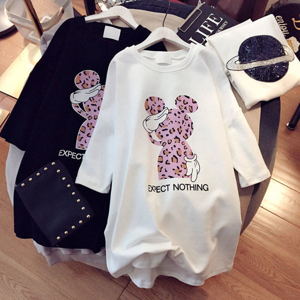 2019 Leopardo Mulheres Vestidos Dos Desenhos Animados Plus Size Vestidos de Manga Curta Preto Branco Casual Mini Luxo Solto Vestido de Verão Rato Bonito