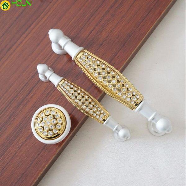 3.75 '' 5 '' Crystal Dresser Handles Gold Drawer Pull Handles / Kitchen Cabinet Door Handles Decoración Hardware 96mm 128mm