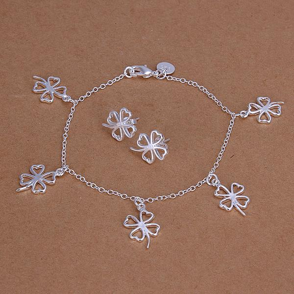 High grade 925 sterling silver Clover piece jewelry set DFMSS148 brand new Factory direct 925 silver bracelet earring