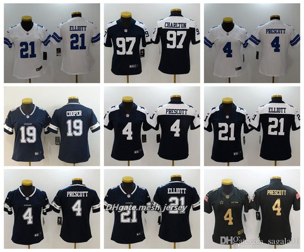 715cbca76f Mujeres Dallas Cowboys Camiseta de fútbol americano 21 Ezekiel Elliott 4  Dak Prescott 97 Taco Charlton