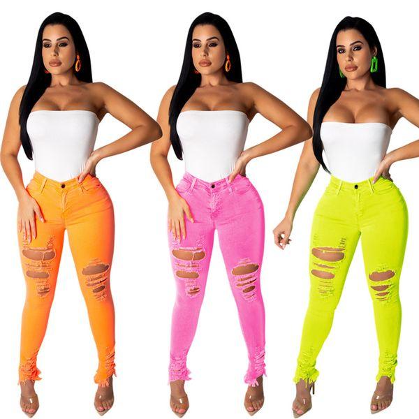 Diseñador Mujeres Pantalones vaqueros rasgados Agujero Pantalones largos de mezclilla Sexy Bodycon Skinny Jeans delgados Primavera Verano Ropa Tallas grandes S-2XL