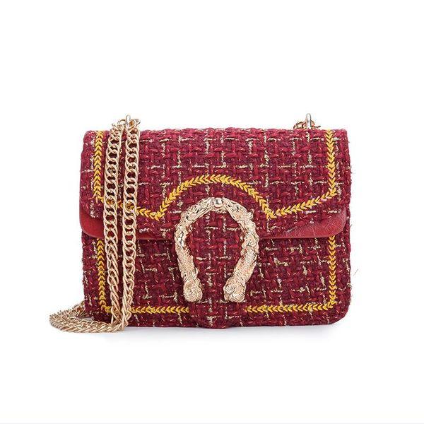 Ge children's bag 2018 new trend wild chain women's bag small square woolen shoulder Messenger bag