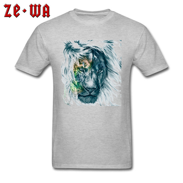 Lion Stare Tshirt Men Art Painting T-shirt Cotton Fabric Grey Clothes Crew Neck Animal Print Tops & Tees Slim Fit Shirts Cheap