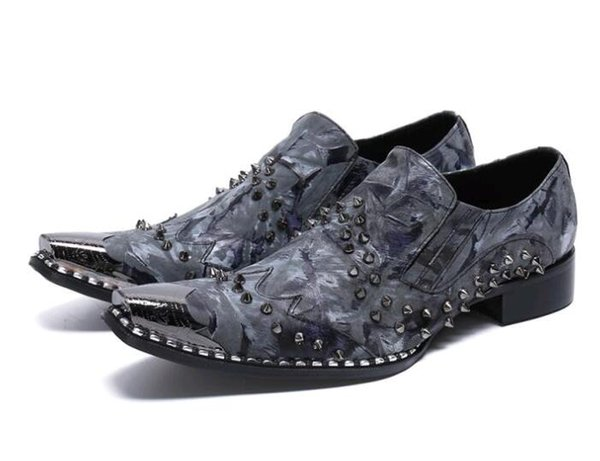 Luxury Металл Мужские Формальные Кожаная обувь, мода бизнес кожаные ботинки мужские ботинки платья заклепок Мужские полуботинки Sapato Социальный TD85 Мужчина для