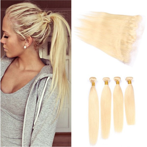 #613 Blonde Virgin Indian Human Hair Wefts with Full Frontals 4Bundles Bleach Blonde Straight Weaves with 13x4 Ear to Ear Lace Frontal