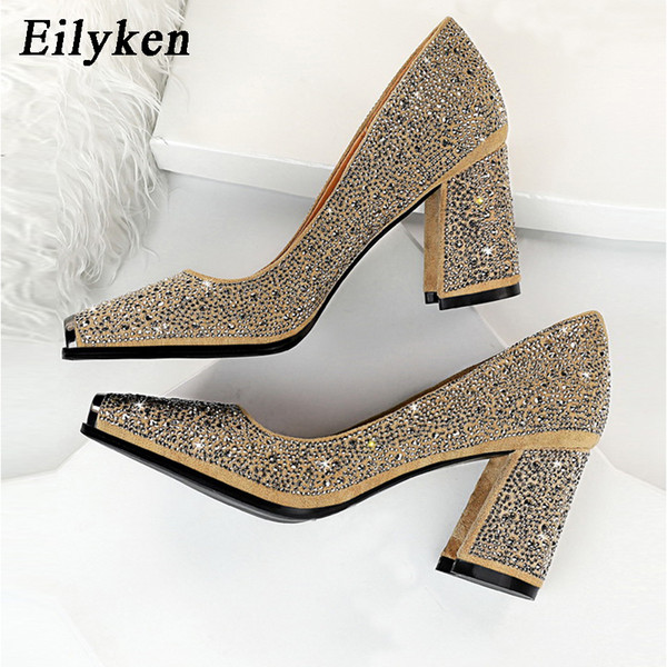 Eilyken Crystal Chunky Heels Pumps 2020 Spring Women Fashion New Design Square Toe Bling Rhinestone Red Wedding Bride Shoes