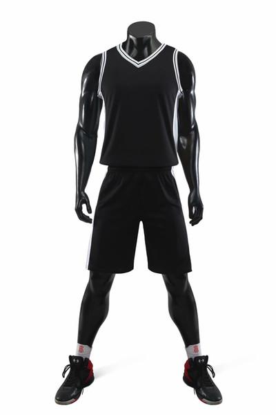 Günstige 2019 Männer Training Basketball-Sets mit Shorts Uniformen reversible Basketball-Trikots für die Heimat und schaut Kits Sport weg A06-52