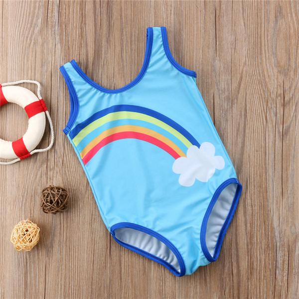 Toddler Kids Baby Girls Rainbow Swimwear Swimsuit Bathing Suit Beachwear Summer