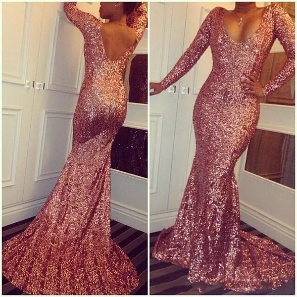 Rose Gold Sequined Mermaid Prom Dresses 2019 Scoop Neck Long Sleeves Sexy Low Back Sparkling Evening Dresses Sweep Train Custom Made