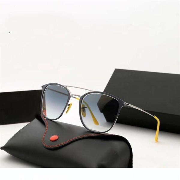 marka ve dava ile Moda Vintage Kare Stil Güneş cam mercekler Çift Işın Red Nose Pad Marka Tasarım Güneş Gözlükleri óculos De Sol