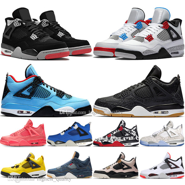 With Box 2019 Newest Bred 4 4s What The Cactus Jack Laser Wings Mens Basketball Shoes Eminem Pale Citron Tattoo Men Sports Designer Sneakers