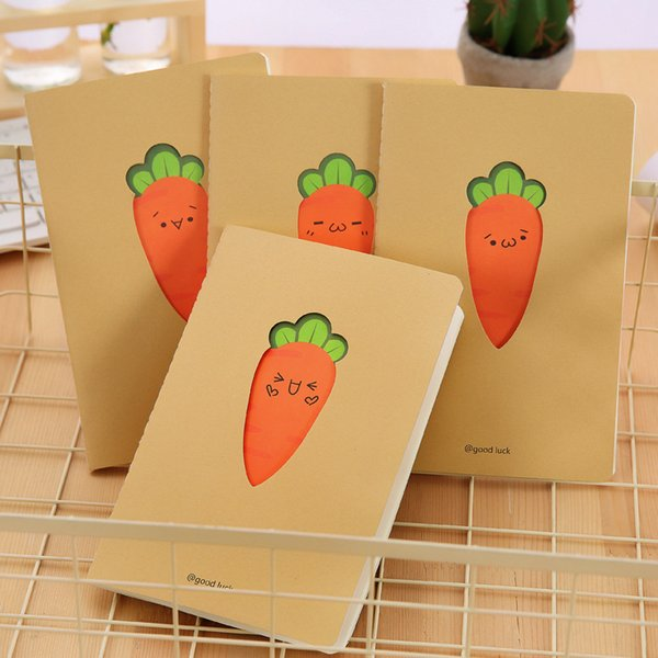 A5 Kraft paper Cover Notebook Hollow carrot Schedule Diary Book Exercise Composition Binding Note Notepad Gift Stationery