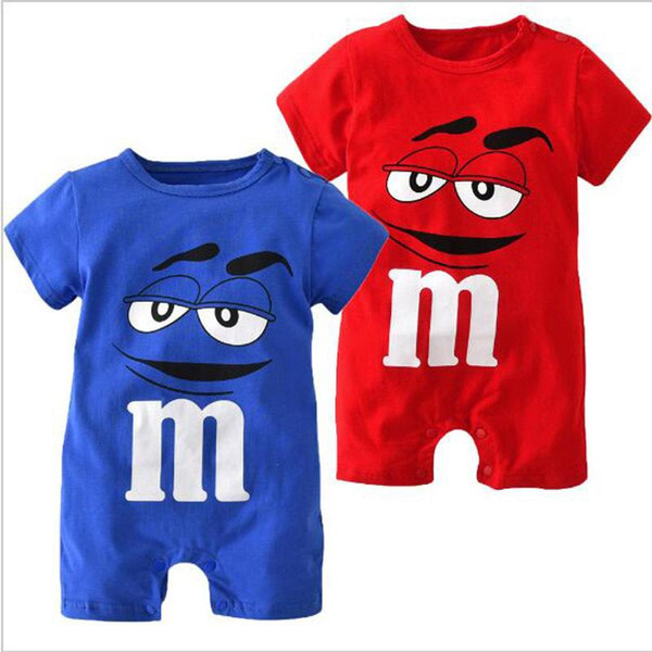 2019 New Fashion Baby Boys Girls Clothes Newborn Blue and Red Short Sleeve Cartoon Printing Jumpsuit Infant Clothing Set