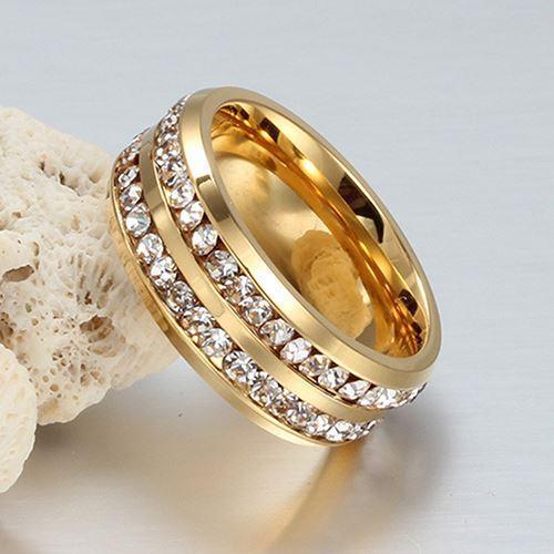 Anillo de la joyería de la boda de acero titanium de las filas de los Rhinestones del doble de la moda para hombre de las mujeres