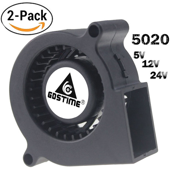 ventilatore pc 12v Sconti Fan fan di raffreddamento 2 pz GDSTIME 5020 Blower 24 12V 5V Turbina centrifuga Fan 50mm 2 Pin Raffreddamento del raffreddamento