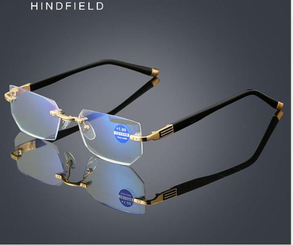 Анти-усталость и анти-синий пресбиопические очки для пожилых алмазной отделкой пресбиопические очки без границы