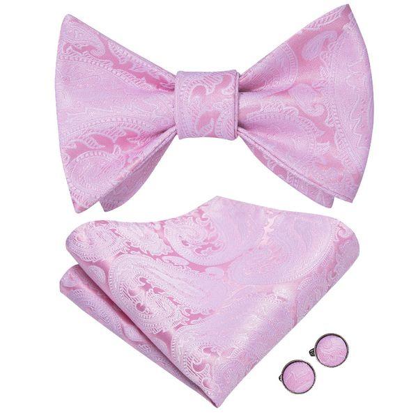 Hi-Tie Bow Tie Set Wedding Silk Bow Ties Men Peach Paisley Self Tie Bowtie Pocket Square Party Drop Free Shipping LH-2034