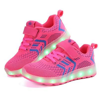 New Children LED Luminous Casual Shoes Colorful USB Fly Weave Technology Coconut Cloth Rechargeable Shoes Factory Direct Sale