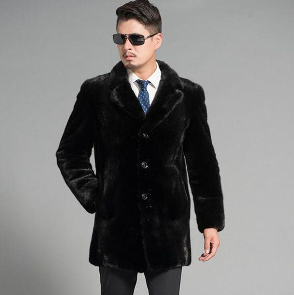 Sonbahar faux vizon deri ceket erkek Tek göğüslü giyim kış kalınlaşmak sıcak kürk deri ceket erkekler ceketler jaqueta de couro