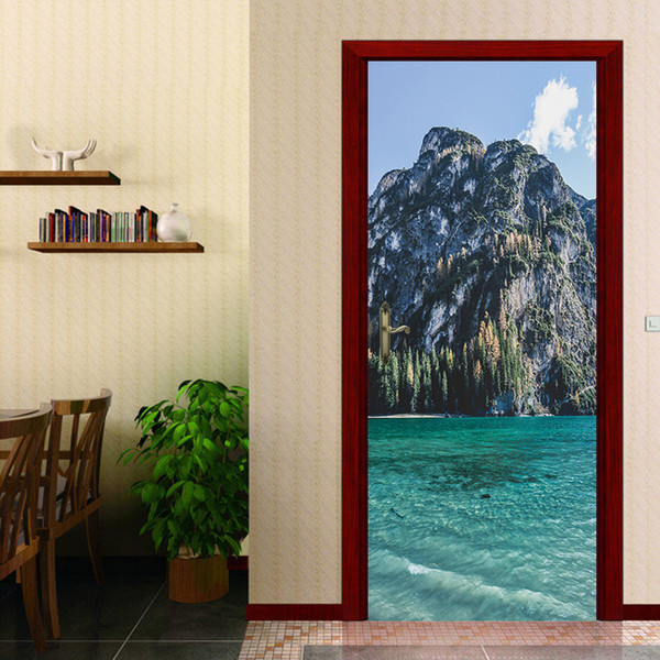 Personalized 2Pcs/Set Mountain Sea Scenery Decor Home DIY Door Stickers Pattern for Wall Room Home Door Decor Art Decal Decoration