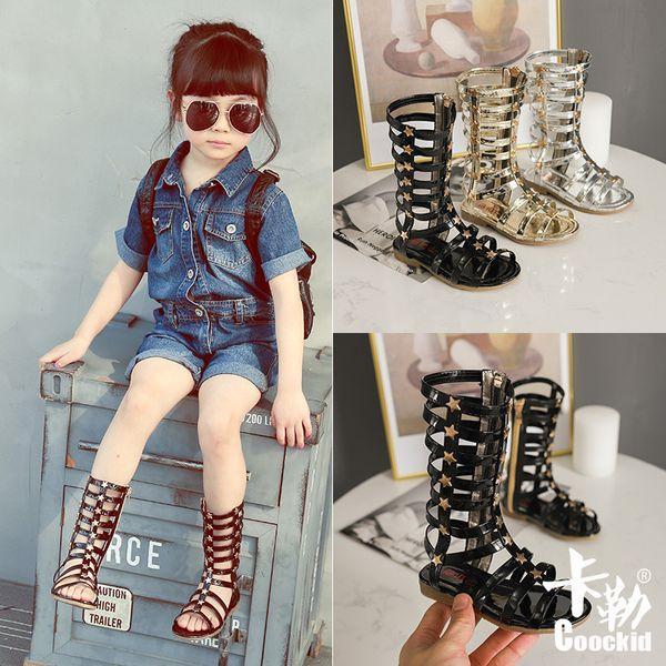 Sıcak çocuklar ayakkabı Kızlar Roman yaz yeni çocuk açık parmaklı yüksek Gladyatör moda vahşi perçin gelgit ayakkabı ücretsiz kargo