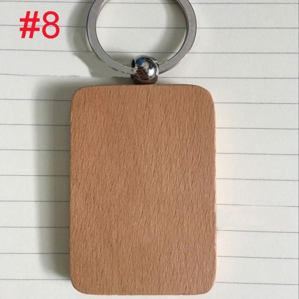 Free DHL Wooden Keychain Creative Round Square Rectangular Shaped Key Ring High Quality DIY Handmade Alloy Pendant Keyrings Gift