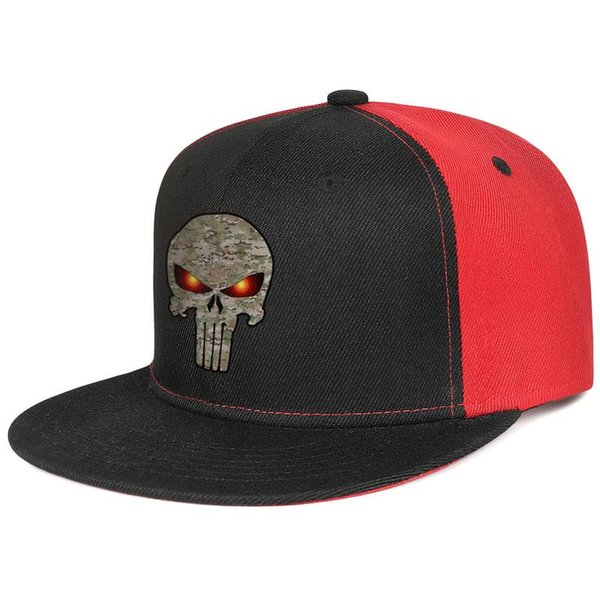 Womens Mens Plain Adjustable camo punisher skull Punk Hip-Hop Cotton Baseball Cap Summer Travel Hats Military Caps Airy Mesh Hats For Men Wo