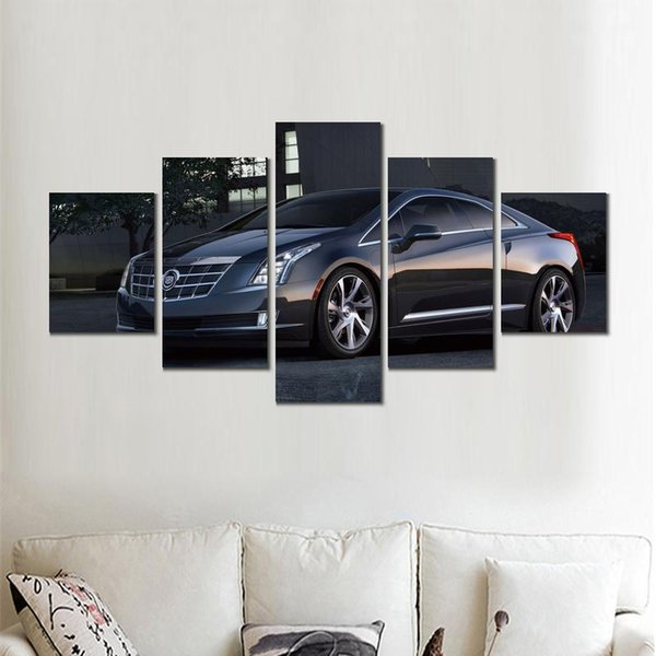 5 sets cadillac elr coupe car canvas print arts pictures for dining room decor