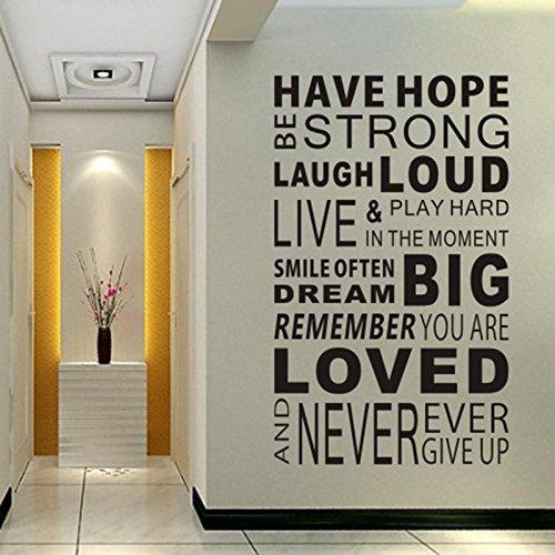 Cotizaciones inspiracionales de calcomanías de pared, Word Wall Sticker Quotes, Motivational Wall Decal, Vinilos decorativos familiares de arte inspirado